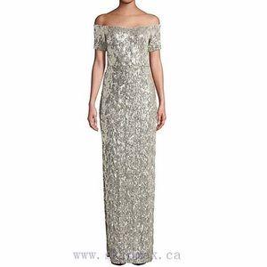 NWT Size 2 Aidan Mattox Gold Sequin Gown